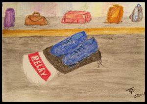 Blue shoes on luggage belt